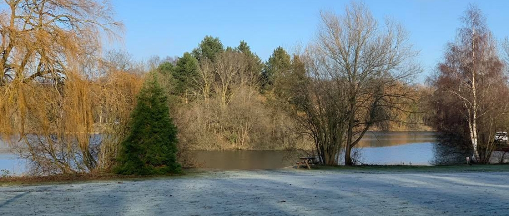 A wintery photo of a frozen lake and snowy woodland
